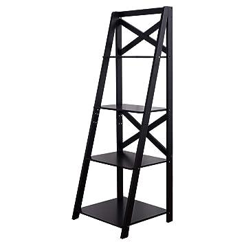 Officejoy 4 Tier Display Shelf Ladder Storage Bookshelf Wall Leaning Bookcase Shelf Home Office Decor Black