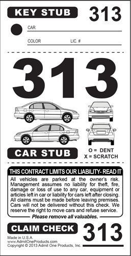 3-Part Valet Parking Tickets - Car Diagram in Front (Key/Car w/Car Diagram in Front/Claim Check) - 2,000 Card Stock White by Admit One Products