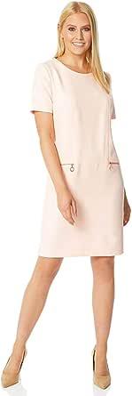 Roman Originals - Vestido de mujer con bolsillo con cremallera, estilo túnica, informal, de trabajo, manga corta, cuello redondo, longitud hasta la rodilla, mini vestidos de día