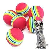 Trillycoler 6tlg Haustier Katze Hund Spielbälle Golf Farbige Weichschaum Regenbogen Chew Chase Bälle 3,5 cm