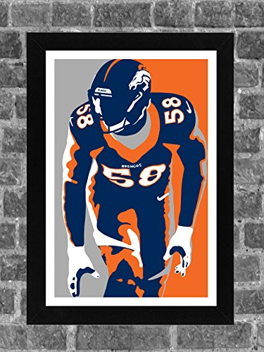 Denver Broncos Von Miller Portrait Sports Print Art 11x17
