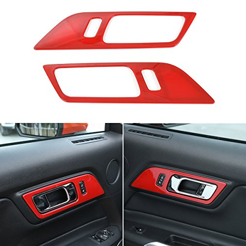 CheroCar Car Door Interior Handle Button Decoration Frame Cover Trim For Ford Mustang 2015-2017