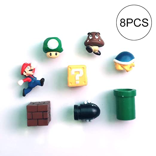 8 pcs Super Mario 3D imanes Nevera Mario panoramas de Sticker ...