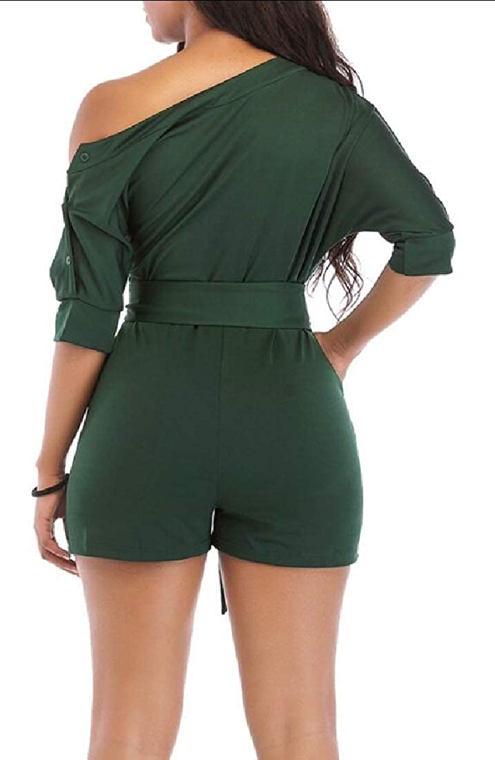 GAGA Women Fashion/'s Summer One Shoulder Jumpsuit Rompers Casual Short Sleeve Jumpsuit