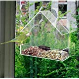 FiNeWaY CLEAR GLASS WINDOW VIEWING BIRD FEEDER HOTEL TABLE SEED PEANUT HANGING SUCTION
