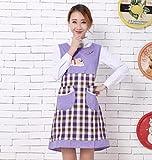 Goodscene Creative Apron Fashion Bear Printed Apron- Home Sleeveless Lattice Apron (Purple)