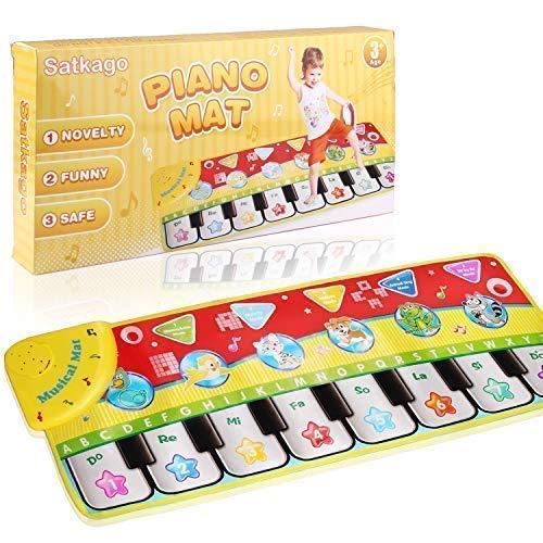 Satkago ピアノマット 音楽ピアノ キーボードダンスマット 点滅ライト付き 電子音楽プレイマット 子供 女の子 男の子用 B07MB1JQGC