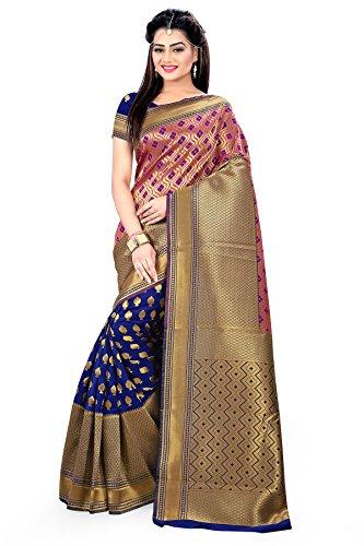 Designer Sarees Woven Work Banarasi Art Silk Saree for women With Unstitched Blouse Piece (Blue) (Piece Georgette Dress Two)