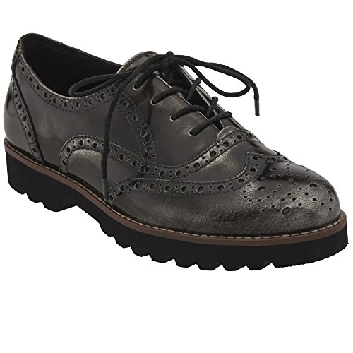 Earthies Women's Pewter Brush Off Leather Santana 12 Medium US by Earthies