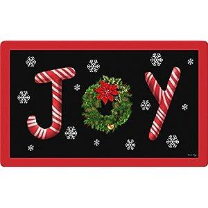 Toland Home Garden Joy 18 x 30 Inch Decorative Floor Mat Christmas Wreath Candy Cane Snowflake Doormat - 800100 69