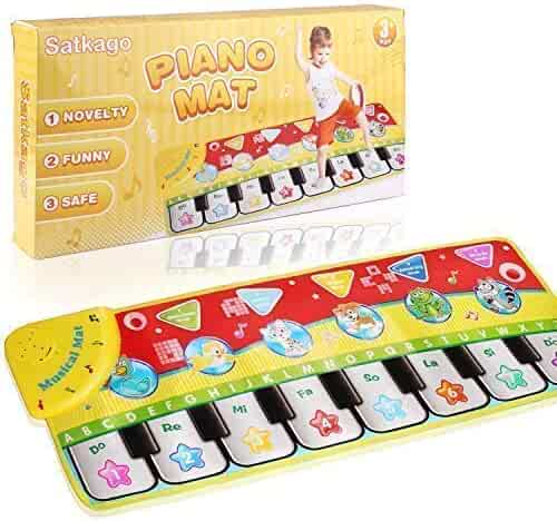 Satkago Piano Mat, Musical Piano Keyboard Dance Mat with Flashing Light Electronic Music Playmat for Kids Girls Boys