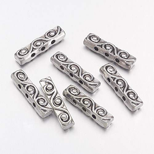 Flower Design Bead - Beadthoven 100pcs Tibetan Style Spacer Beads Antique Silver Rectangle with 3 Hole Bead Spacers for Jewelry Making Bracelets Necklaces Mini Metal Beading SuppliesLead Free & Cadmium Free & Nickel Free