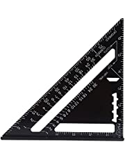 Triangle Ruler 7 Inch Metric/Imperial System Aluminum Alloy Black Oxidation Roofing Triangle Angle Protractor Layout Guide Measurement Ruler Tool(Imperial System)