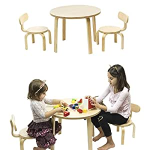 children 39 s table and 2 chairs set birch brown wood baby. Black Bedroom Furniture Sets. Home Design Ideas