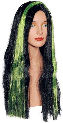 Loftus International Star Power Lime Green Highlight Long Straight Witch Wig Black One Size Novelty (Witch Wig Stripes)