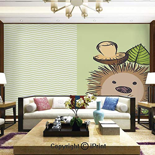 Lionpapa_mural Wall Mural Showing All They Beauty Extremely Detailed Image, Cute Hedgehog with Chevron Stripes Pattern Spiky Animal Wildlife Cartoon Design,Home Decor - 100x144 inches (Hedgehog Outline)