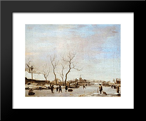 Frozen Canal with Skaters and Hockey Players 20x24 Framed Art Print by Adriaen van de Velde