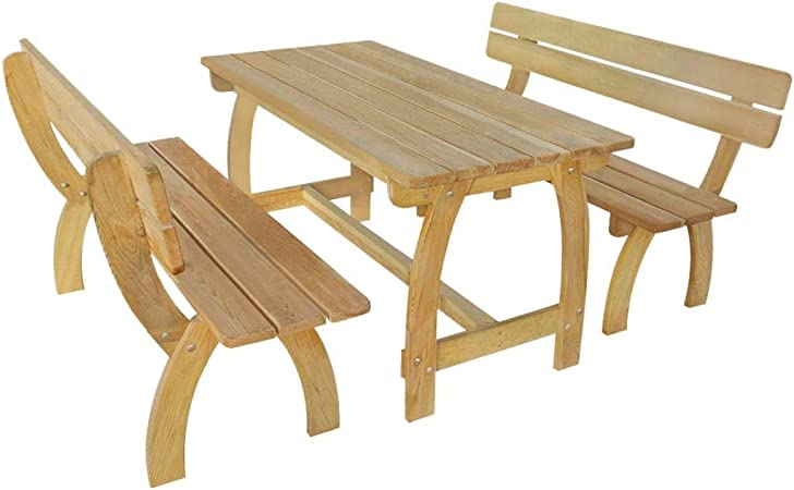 vidaXL Kiefer Imprägniert Gartenmöbel 3 TLG. Sitzgruppe Gartenset Bank Tisch