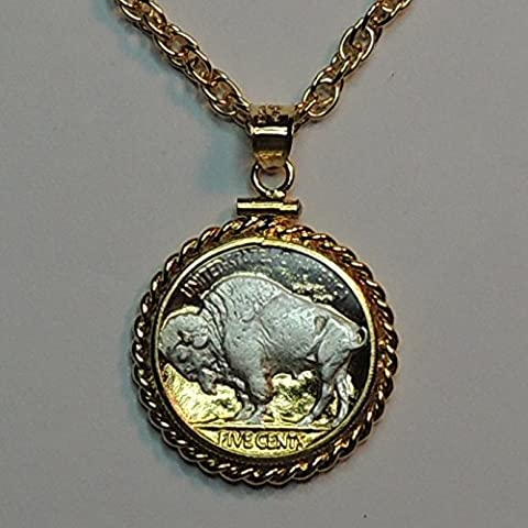 U.S. Sacred White buffalo nickel 2-Toned Silver on Gold coin Necklace (Gold Buffalo Necklace)