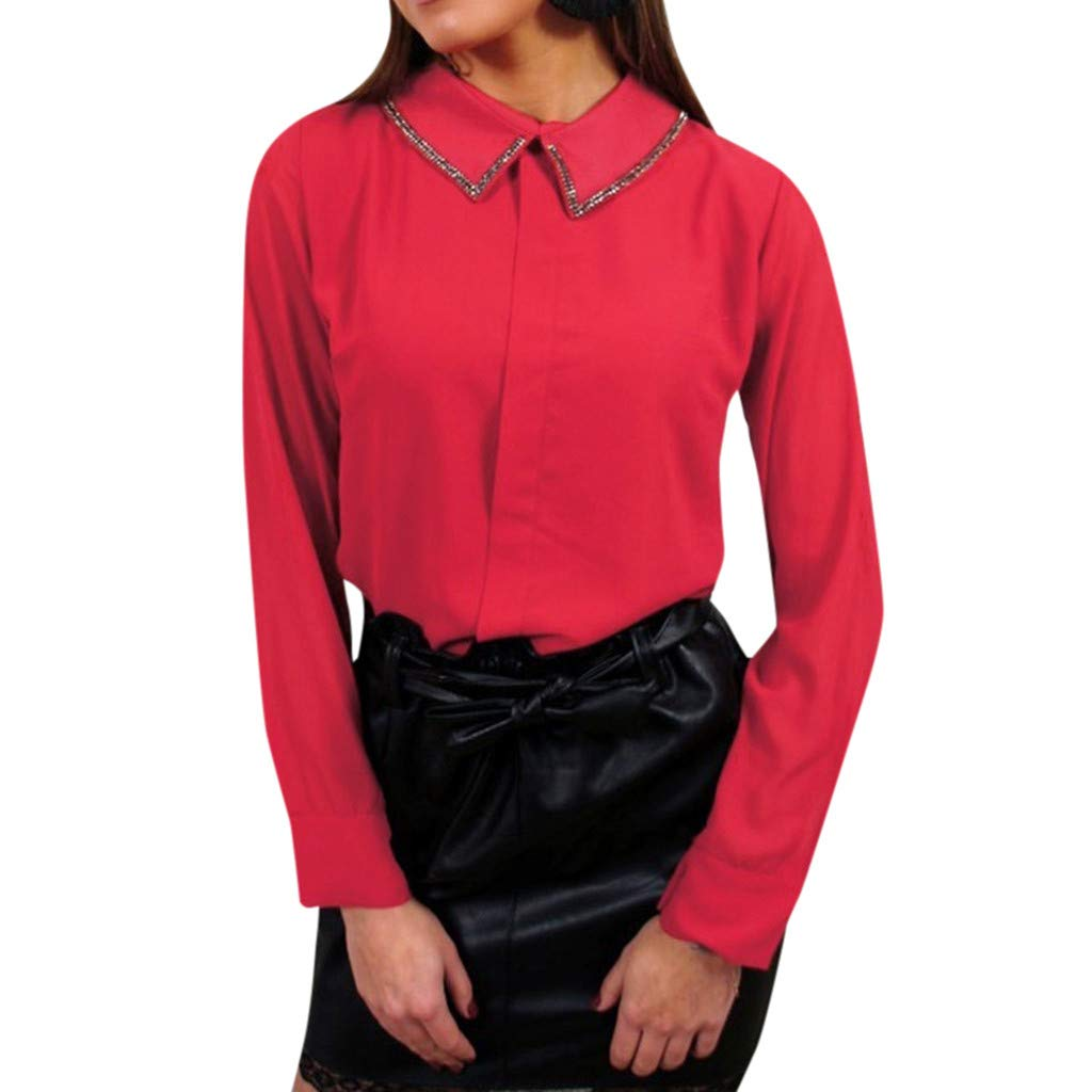 DAYPLAY Womens Turn-Down Neck Long Sleeve Casual Office Work Chiffon Blouse Shirts Tops 2019 Sale Summer Red