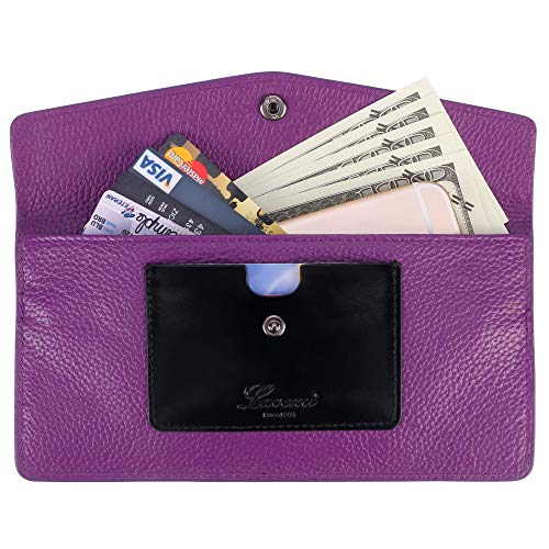 Lavemi RFID Blocking Ultra Slim Real Leather Credit Card Holder Clutch Wallets for Women(Purple) ()