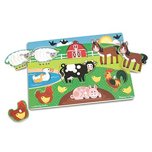 Melissa & Doug World of Animals Wooden Peg Puzzles Set - Pets (8 Pieces), Farm (8 Pieces), Safari (7 Pieces)