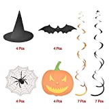 30 Pieces Creepy Halloween Party Ornament Kit Hanging Swirl Decoration Scary Theme Creepy Creatures Ceiling Hanging Tree Decor Bats Spider Web Witch Hat Swirl Hanging Cards