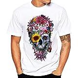 PASATO Summer Solid Men Personality Printing Tees Shirt Short Sleeve Loose T-Shirt Top Blouse(White-3,S=US:XS)