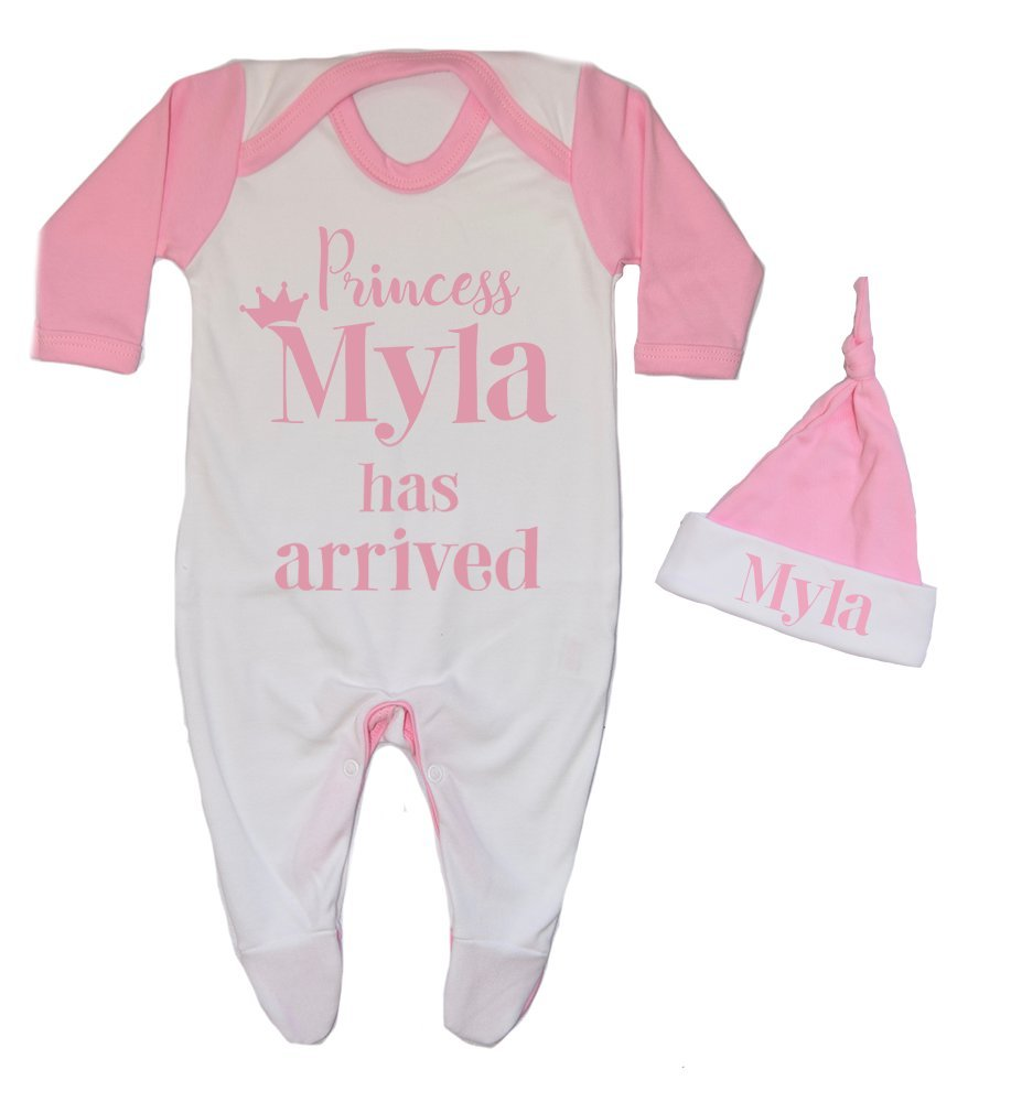 Personalised Princess Name Has Arrived Contrast Baby Romper and Hat Set Babygrow Newborn baby Gifts Personalised Babywear Hospital Outfit
