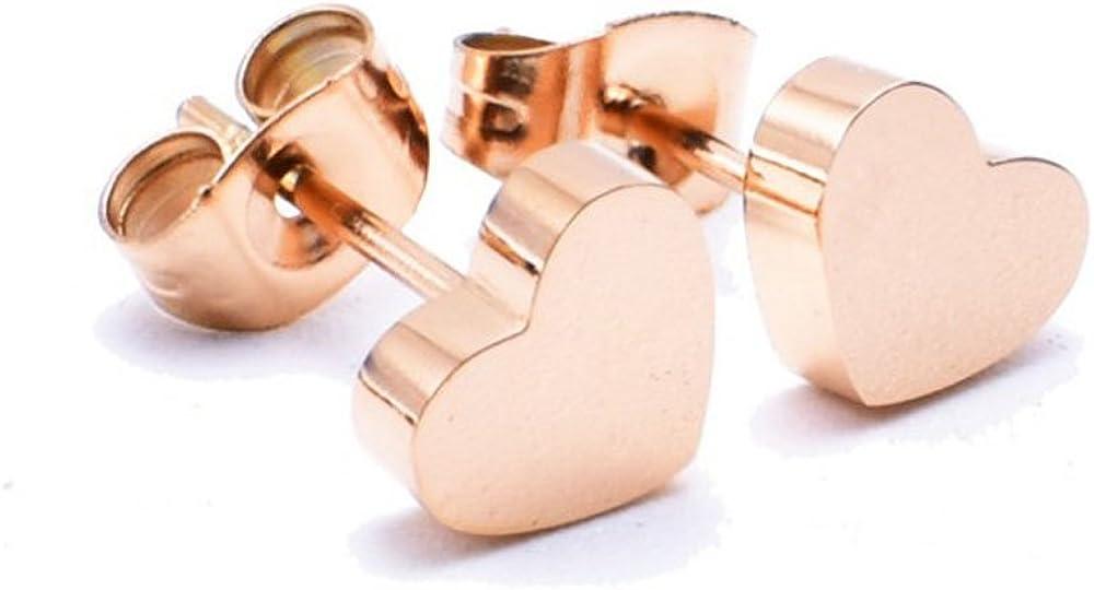 findout Ladies 14K Rose Gold überzogenen Titanio Acero Redondo Bean Corazón de estrella de perlas bola Pendientes, para mujeres niña