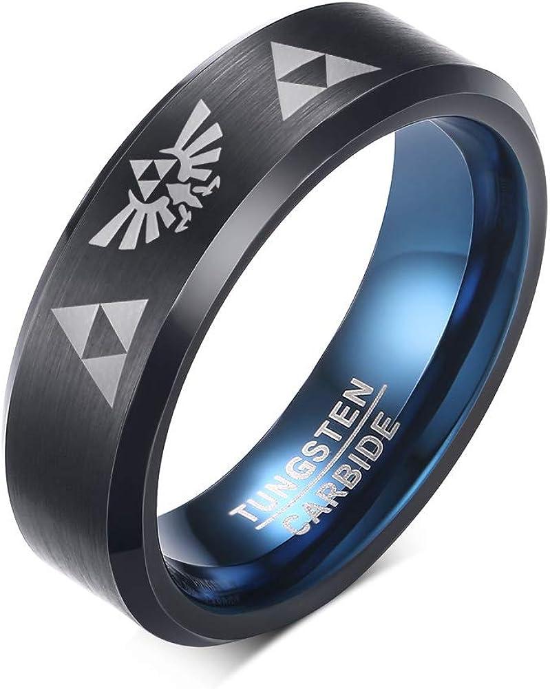 MEALGUET Tungsten Carbide Two-Tone Blue Black Step Edge Legend of Zelda Triforce Ring Bands for Men Boy for Zelda Fans
