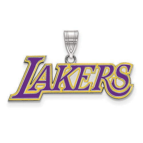 (NBA Los Angeles Lakers Large Logo Pendant in Rhodium Plated Sterling Silver)