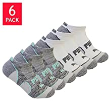 Puma Ladies' No Show 6-pair Socks (Black/Gray and White/Gray) Sock size: 9-11, Fits shoe size: 5-9.5