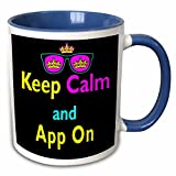 3dRose Dooni Designs CMYK Hipster Designs - CMYK Keep Calm Parody Hipster Crown And Sunglasses Keep Calm And App On - 15oz Two-Tone Blue Mug (mug_116532_11)