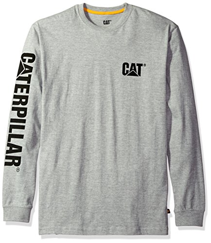 Caterpillar Men's Trademark Banner Long Sleeve Tee, Heather Grey, L