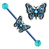 "Turquoise blue Butterfly Blue bar w/ Turquoise balls Industrial Barbell rings 1-3/8"" 14g"