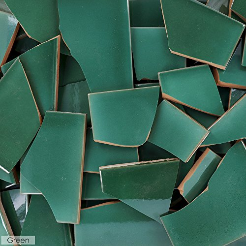 5 Pounds of Broken Talavera Mexican Ceramic Tile in GREEN Solid Color