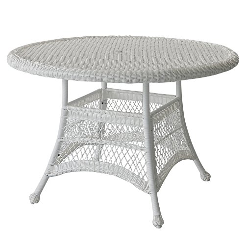 Jeco W00206D-B Wicker Round Dining Table 44″ White