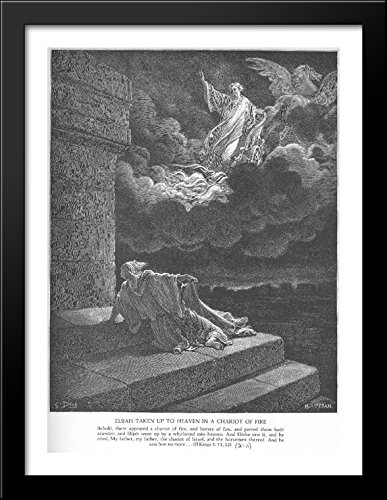 Elijah Ascends to Heaven in a Chariot of Fire 28x38 Large Black Wood Framed Print Art by Gustave Dore