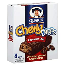 Quaker Chewy Dipps Granola Bars Chocolate Chip, 8-Count Box (Pack of 6)