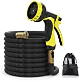 XBUTY New Version Garden Hose,50FT Expandable Water Hose 9 Patern Spray Nozzle,High Pressure Extra Strength Fabric Double Latex Core 3/4 Solid Brass Fittings with Carrying Bag