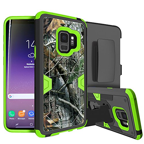 - MINITURTLE Case Compatible w/Neon HighImpact Samsung Galaxy S9 Case w/Hybrid Silicone & Hard Exterior [MINITURTLE MAX Defense Green Series for Galaxy S9] Clip + Stand Case for Galaxy S9 Hunter Camo