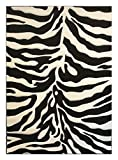 Sculpture Modern Zebra Print Area Rug Design 245 Black (6 Feet X 9 Feet) For Sale