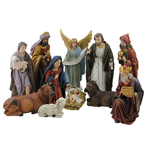 NORTHLIGHT QR01728 Christmas Nativity Figure Set with Colored Accents by Northlight