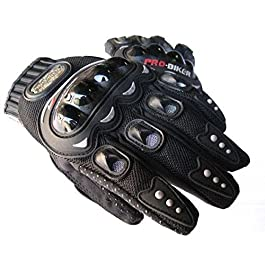 R.P.M. SPORTS Probiker Cycling Shockproof Leather Foam Padded Full Finger Riding Gloves (Black,XXL)