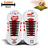 Coolnice® No Tie Shoelaces for Kids Outdoor Sports 18pcs- Environmentally Safe silicone - Lazy Shoestrings-Black Color
