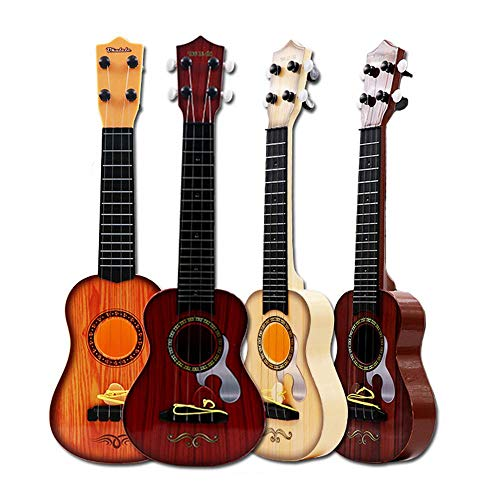 Toy Ukulele for Kids, Aolvo 17.7 Inch Plastic Hawaiian 4 String Guitar Acoustic Classic Guitar with Guitar Pick & Tunable Vibrant Ukulele Sounds,Acoustic Guitar for Ages 3 Boys and Girls