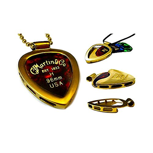 PICKBAY Gold-N Shiny (GOLD IPG) Guitar Pick Holder Pendant Necklace & MARTIN Variety Gauge Pick Set with 24