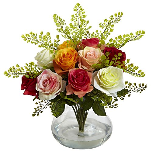 Nearly Natural 1366-AS Rose and Maiden Hair Arrangement with Vase, Assorted
