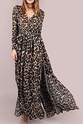 Robe Manche Hhgold Élégante De Printemps Soie largeLéopard Pour Femme MaxicoloréLéopardTaille X Ling Automne Mousseline jA54RL